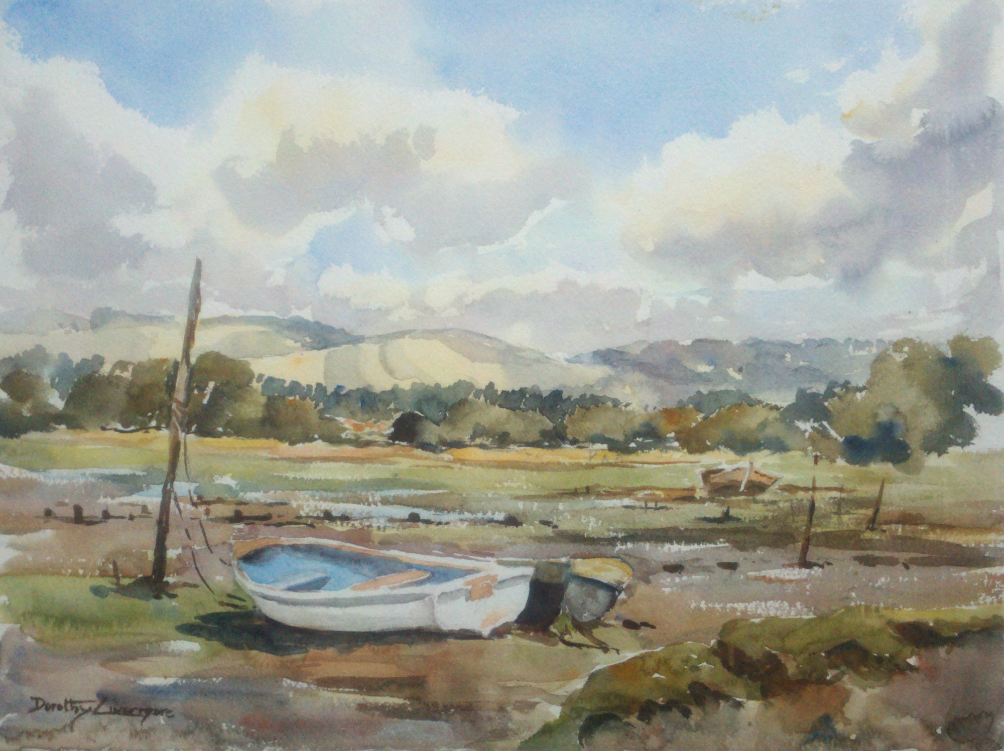 """Boats on the                     sand"", Dorothy Livermore Bishop"