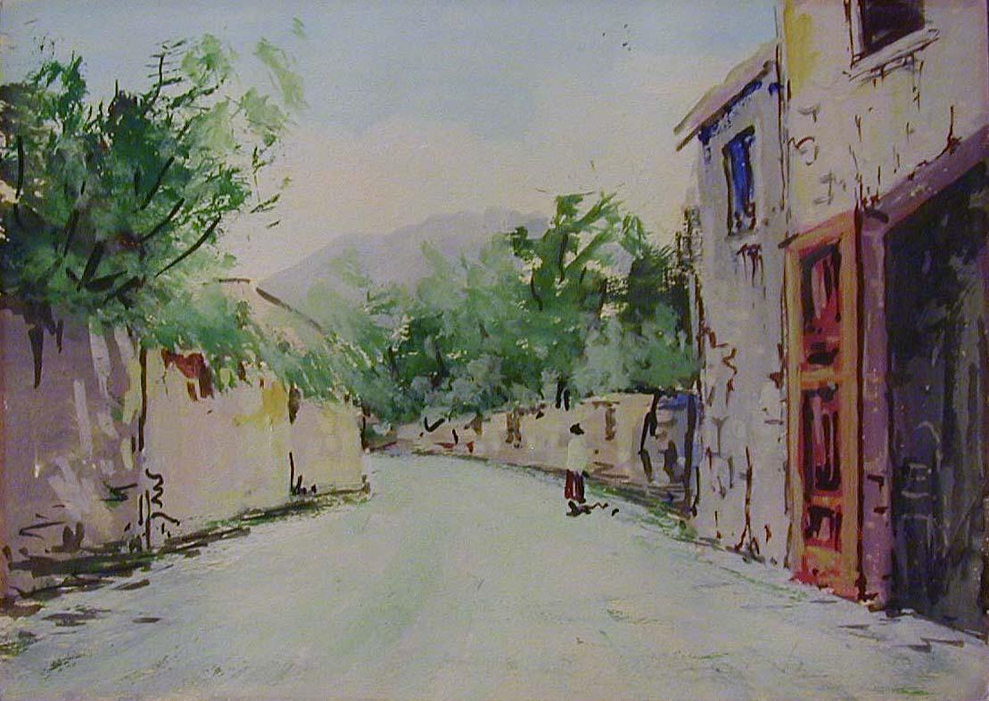 Watercolor artists directory wiki - Unknown Artist Street Scene